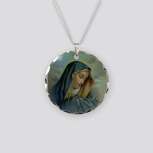 Virgin Mary Assumption Necklace Circle Charm