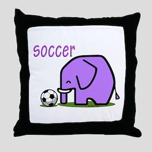 Soccer Elephant (3) Throw Pillow