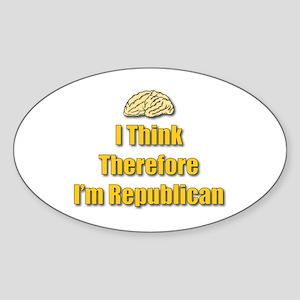 I Think Oval Sticker
