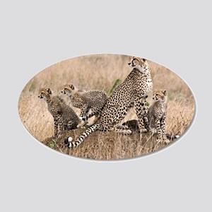 Cheetah Family 22x14 Oval Wall Peel