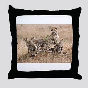 Cheetah Family Throw Pillow