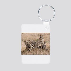 Cheetah Family Aluminum Photo Keychain