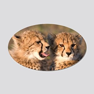 Cheetah cubs 22x14 Oval Wall Peel
