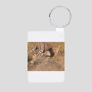 Cheetah On The Move Aluminum Photo Keychain