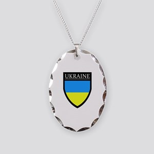 Ukraine Flag Patch Necklace Oval Charm