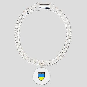 Ukraine Flag Patch Charm Bracelet, One Charm