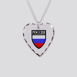 Russia (in Russian) Patch Necklace Heart Charm