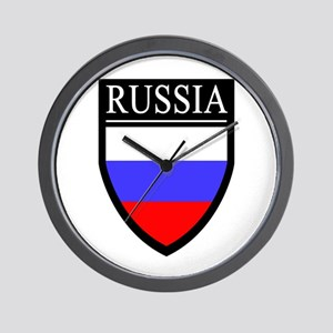 Russia Flag Patch Wall Clock