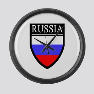 Russia Flag Patch Large Wall Clock