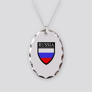 Russia Flag Patch Necklace Oval Charm