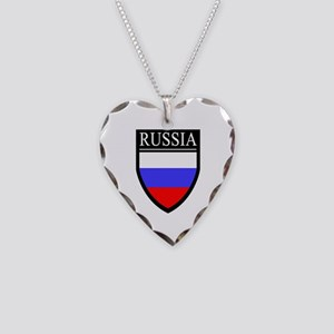Russia Flag Patch Necklace Heart Charm