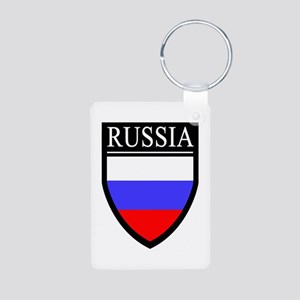 Russia Flag Patch Aluminum Photo Keychain
