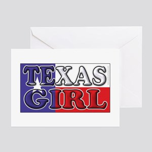 Texas Girl with Flag Greeting Cards (Pk of 10)