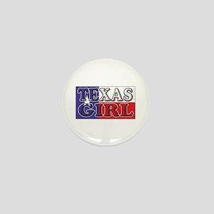 Texas Girl with Flag Mini Button