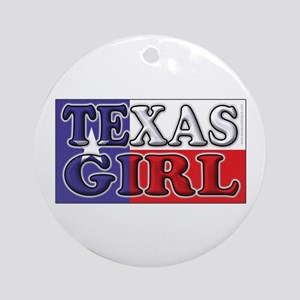 Texas Girl with Flag Ornament (Round)
