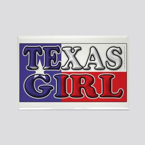 Texas Girl with Flag Rectangle Magnet