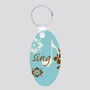 Sing Aluminum Oval Keychain