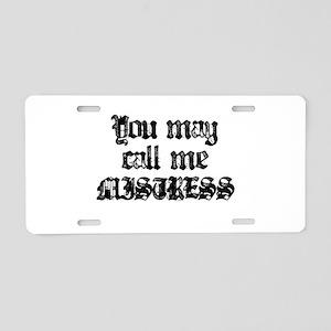 Mistress Black Aluminum License Plate