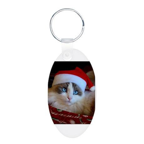 Ragdoll cat in Santa Hat Aluminum Oval Keychain