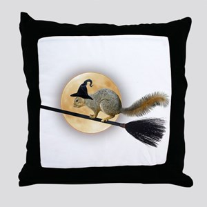 Witch Squirrel Throw Pillow