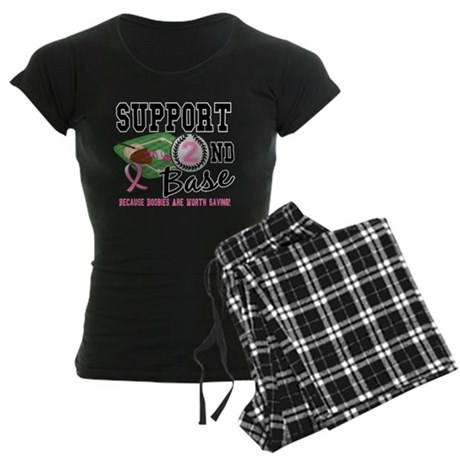Second 2nd Base Breast Cancer Women's Dark Pajamas