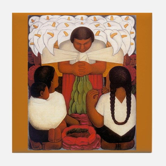 Diego Rivera Cala Lily Vendor Art Tile Coaster
