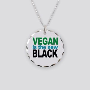 Vegan is the New Black Necklace Circle Charm