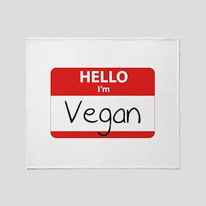 Hello I'm Vegan Throw Blanket