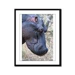 Hippo Profile Framed Panel Print
