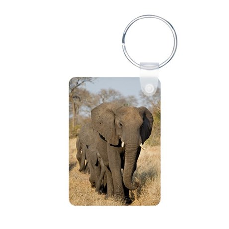 Elephants Stroll Aluminum Photo Keychain