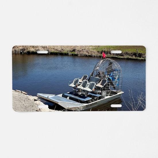 Florida swamp airboat 2 Aluminum License Plate