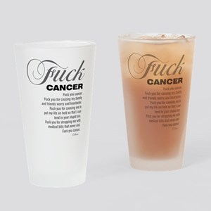 Fuck Cancer White Drinking Glass