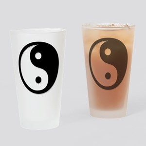 Black Yin Yang Drinking Glass