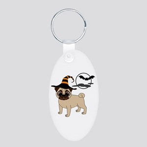 Bewitched Fawn Pug Aluminum Oval Keychain