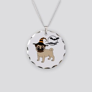 Bewitched Fawn Pug Necklace Circle Charm