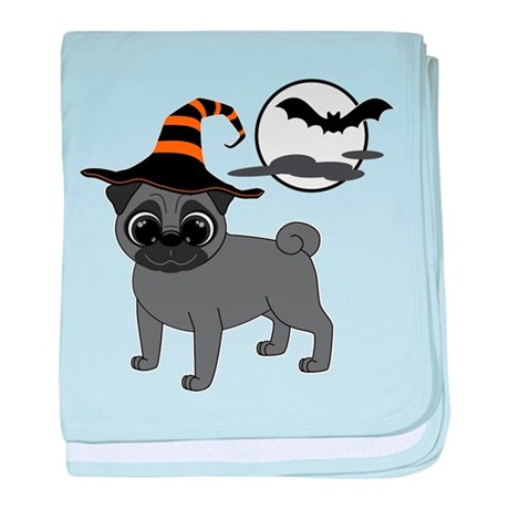 Bewitched Black Pug baby blanket