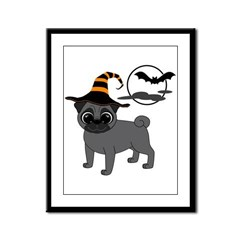 Bewitched Black Pug Framed Panel Print