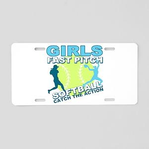 Girls Softball Aluminum License Plate