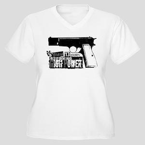 Browning Hi-Power Women's Plus Size V-Neck T-Shirt
