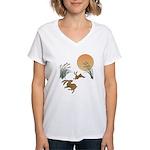 Moon, japanese pampas grass Women's V-Neck T-Shirt