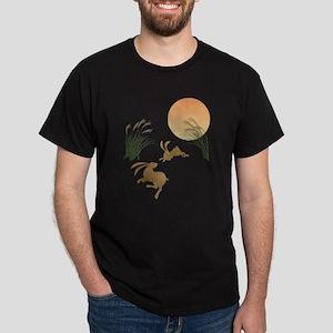 Moon, japanese pampas grass and rabbi Dark T-Shirt