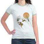 Moon, japanese pampas grass and Jr. Ringer T-Shirt
