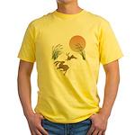 Moon, japanese pampas grass and rab Yellow T-Shirt