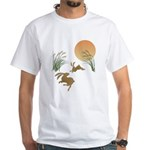 Moon, japanese pampas grass and rabb White T-Shirt