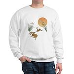 Moon, japanese pampas grass and rabbits Sweatshirt