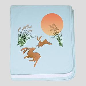Moon, japanese pampas grass and rabbi baby blanket