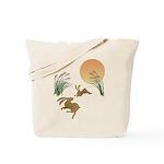 Moon, japanese pampas grass and rabbits Tote Bag
