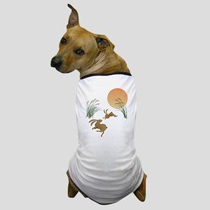 Moon, japanese pampas grass and rabbit Dog T-Shirt
