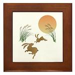 Moon, japanese pampas grass and rabbit Framed Tile