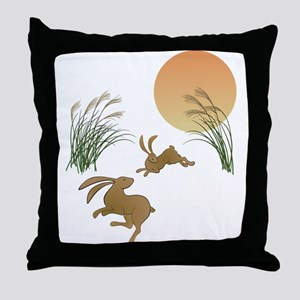 Moon, japanese pampas grass and rabbi Throw Pillow